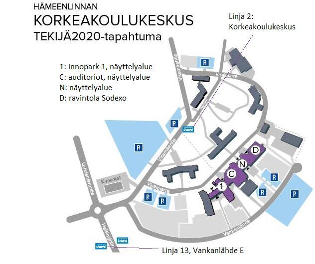 Tekijä2020-tapahtuma, Hämeenlinnan korkeakoulukeskuksen aluekartta